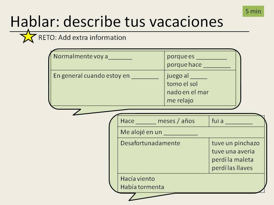 Mis vacaciones desastrosas - a disaster holiday - y10 Spanish