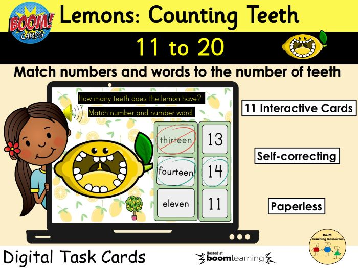 Counting 11 to 20 Lemons Teeth Fruit BOOM Cards™ Distance Learning