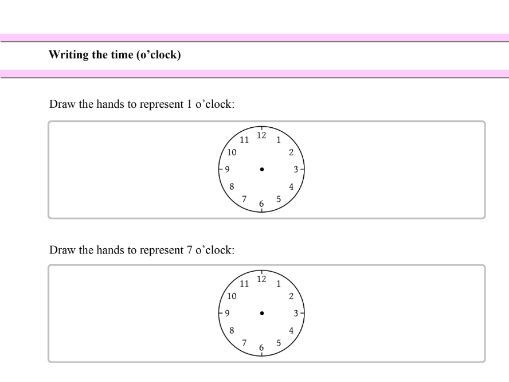 Writing the time (o'clock) for Year 1 students
