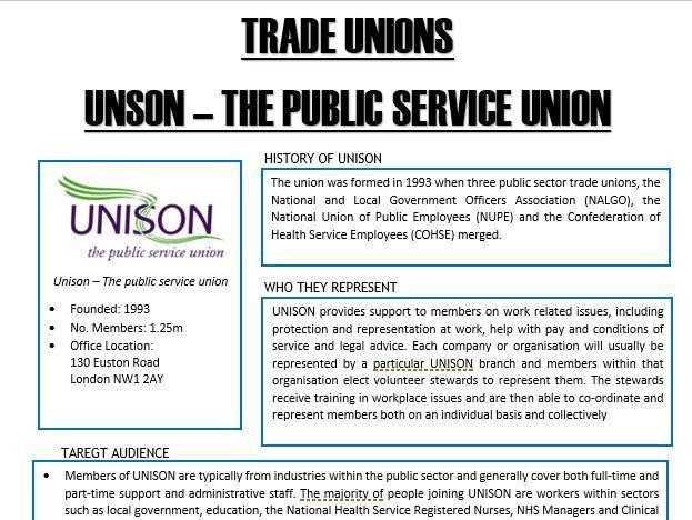 A-Level - Economics - Trade Unions - UNISON
