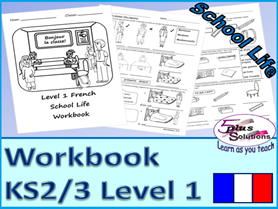 SIX SHEET PRIMARY KS2/3 FRENCH COPIABLE WORKBOOK:Instructions, time/hour,register,classroom objects