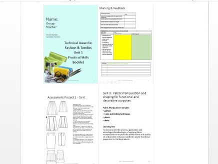 Fashion & Textiles Skills Booklet Unit 1 Technical Awards (based on AQA DRAFT SPEC)