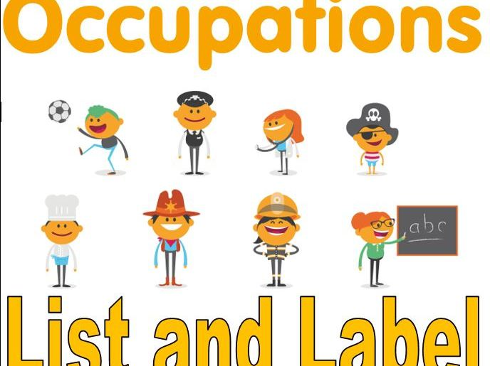 Occupations List and Label Worksheets