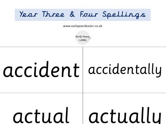 Year 3 and Year 4 Spellings on Flashcards