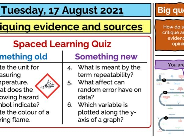 Critiquing evidence and sources