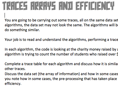 [GCSE + IGCSE] Computer Science Trace Tables, Algorithms and Efficiency