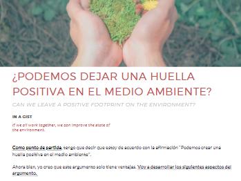Spanish Opinion Piece: The Environment (El medioambiente)