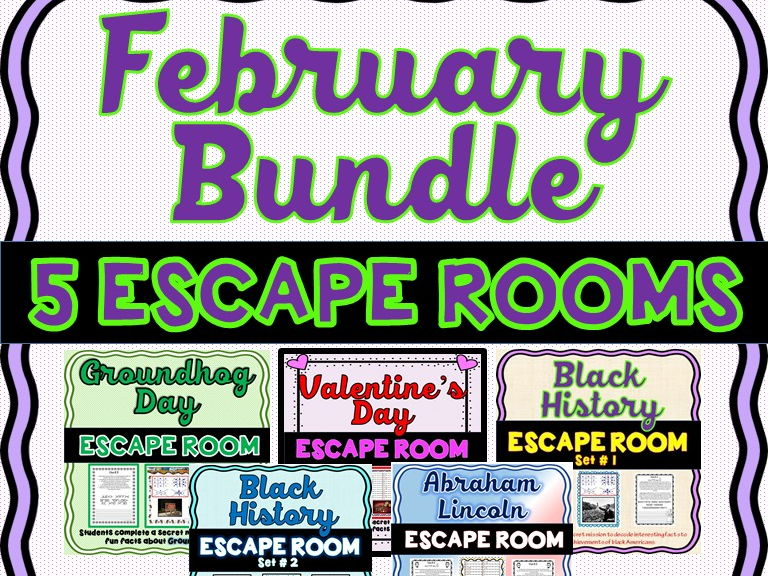 February Escape Rooms- 5 pack: Valentine's, Groundhog, Black History