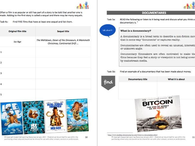 LITERACY - EXPLORE IT (2) - FILMS & DOCUMENTARIES student workbooklet