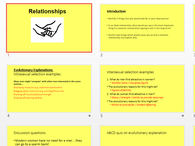 Relationships PowerPoint to Accompany Booklet
