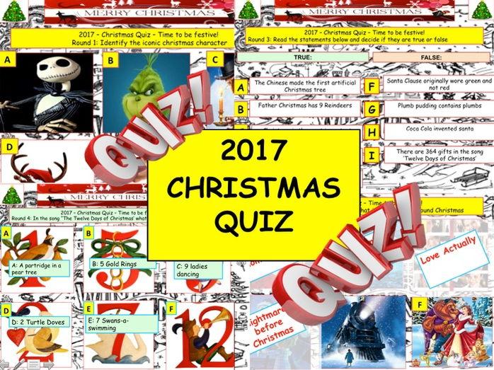 2017 - Christmas Quiz (Fiction, Literacy) - 7 rounds & 40+Qs' .Festive Quiz - End of term Quiz