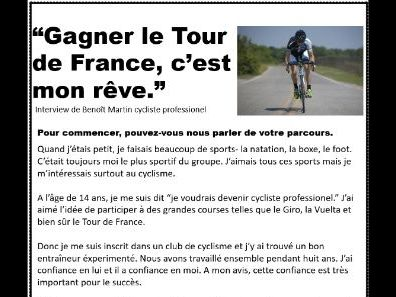 Tour de France: KS4 comprehension