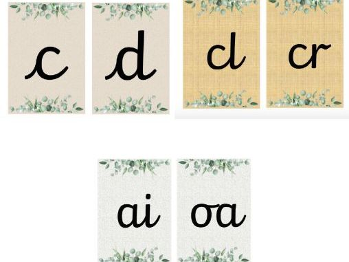Phonics Flashcards - Pre-Cursive (Natural Themed)