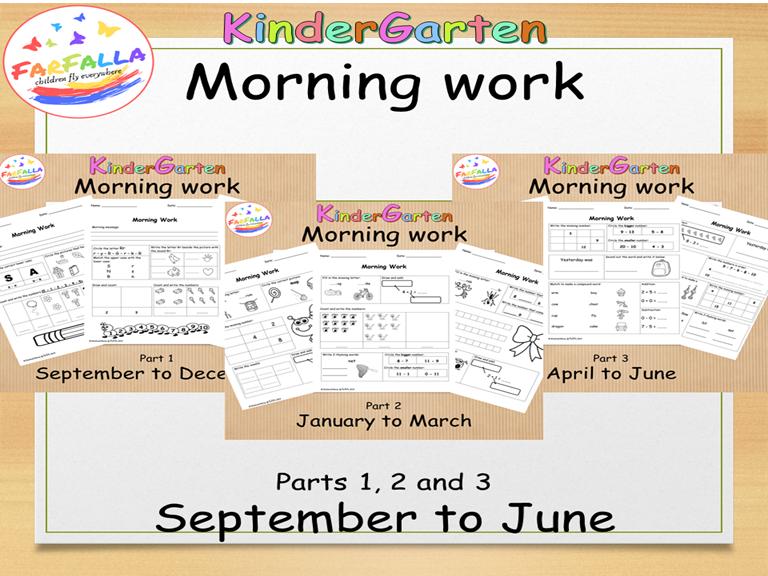 KG Morning Work Part 1,2&3 ( L.A &Math)