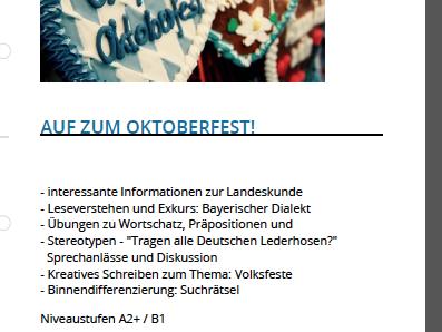 Auf zum Oktoberfest! - Leseverstehen, Landeskunde Deutschland / Bayern, Präpositionen DAF / DAZ A2 -