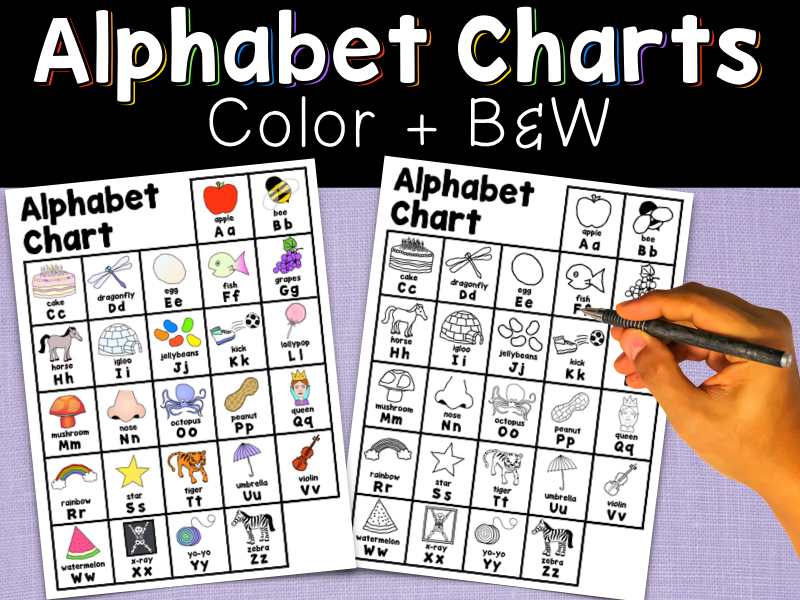 Alphabet Charts, Colour & B&W, A Reference Tool for Reading & Writing