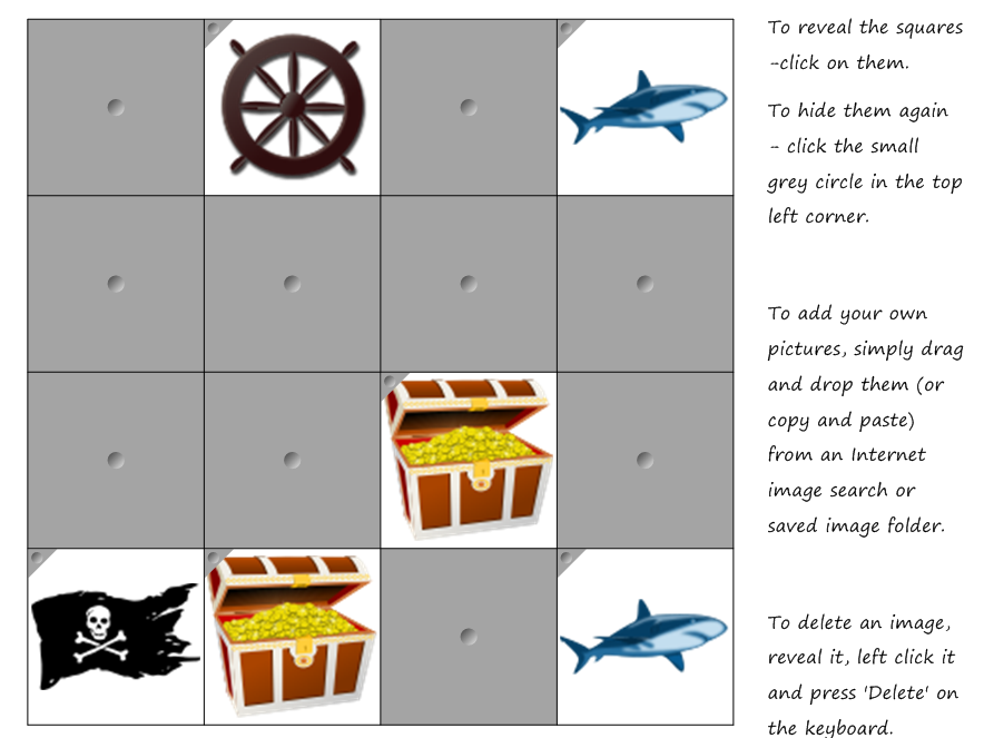 Pirate Matching Pairs Game - Working memory