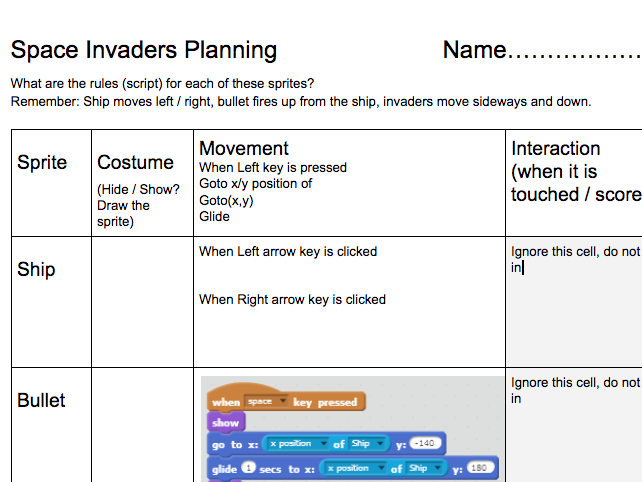 Space Invaders Planning Worksheet