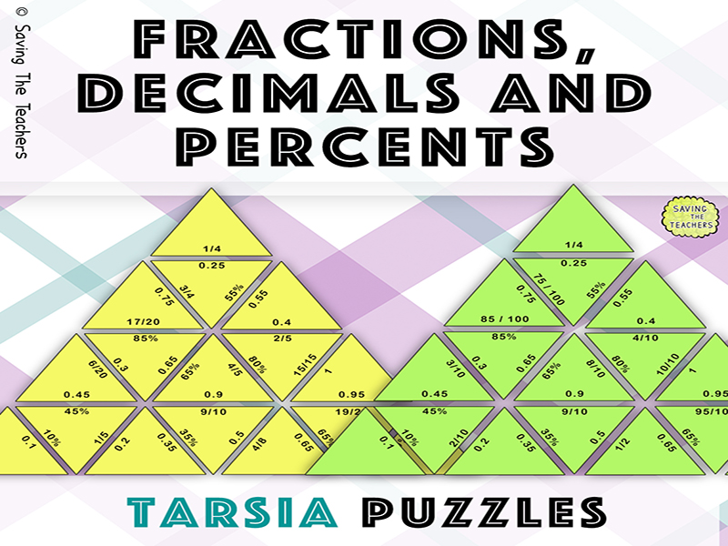 Fractions, Decimals, and Percents Tarsia Puzzle Activity