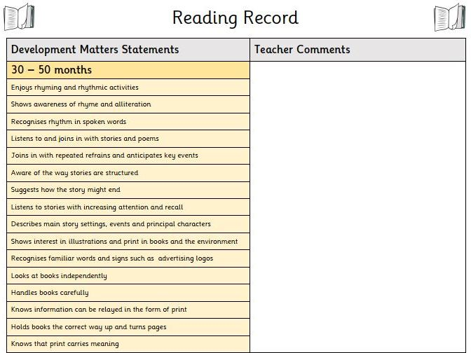 EYFS Reading Records - Individual Tracking Sheet linked to Development Matters