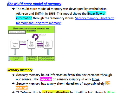 Edexcel A level Psychology Multi-store Model of memory