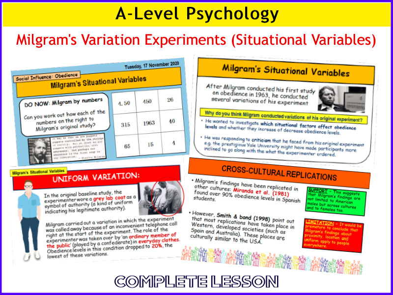 A-Level Psychology - MILGRAM'S SITUATIONAL VARIABLES (Year 1 Social Influence)