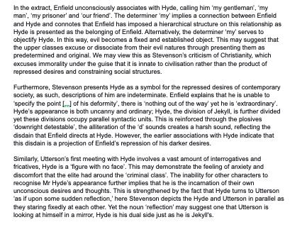 Jekyll and Hyde full mark example essay AQA Grade 9 9-1 specification English Literature