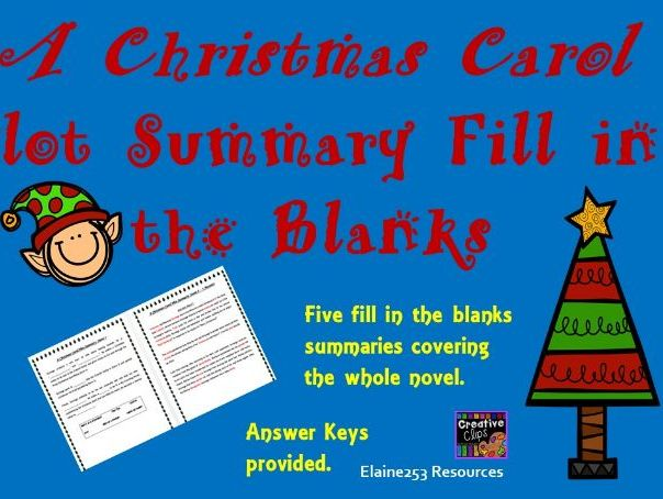 A Christmas Carol Summary Cloze Exercise Worksheets