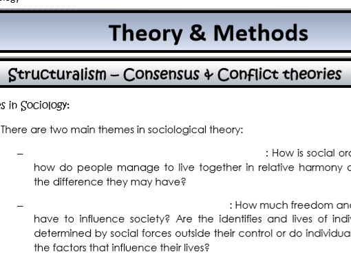 AQA Sociology - Year 2 - Theory & Methods - Complete Unit