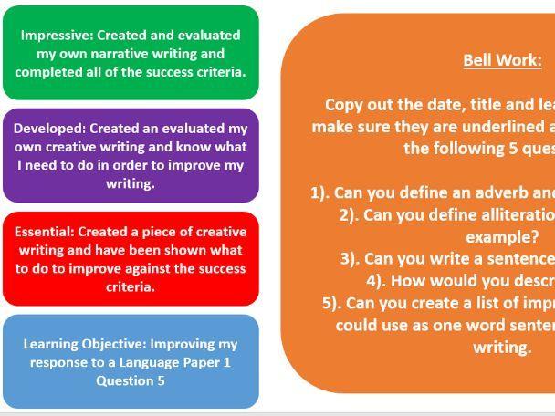 AQA GCSE Language Paper 1 Question 5 Character Development