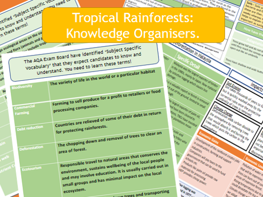 AQA GCSE 9-1: Tropical Rainforest Case Study - Knowledge Organiser and Revision Summary Sheets