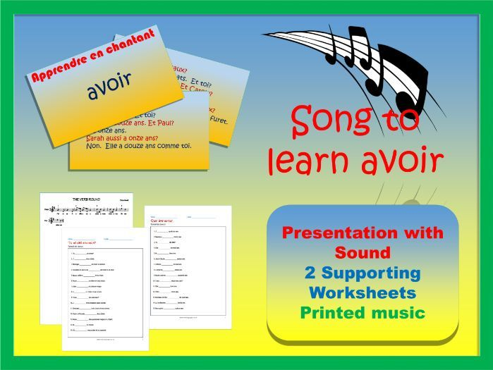 Avoir learnt through song.  Follow-up worksheets (age and animals).
