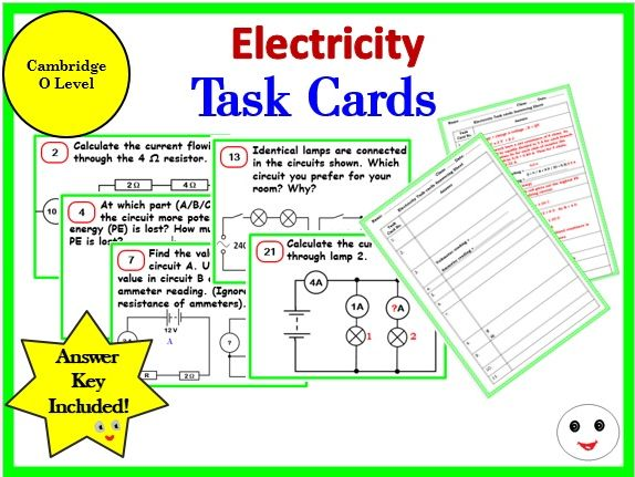 Electricity - Task Cards