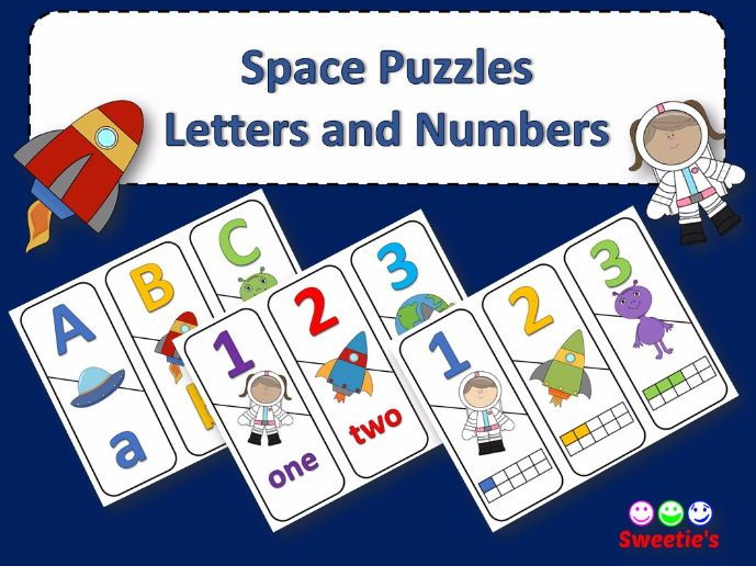 Number and ABC Puzzles - Space Theme
