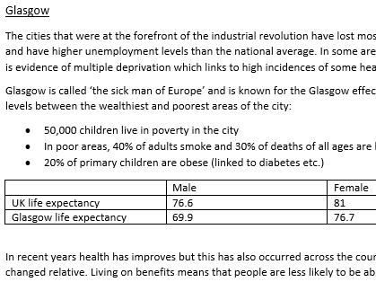 Deindustrialisation/ spiral of decline A level Geography case studies