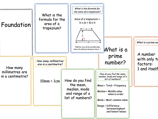 Higher and Foundation flash cards for revision