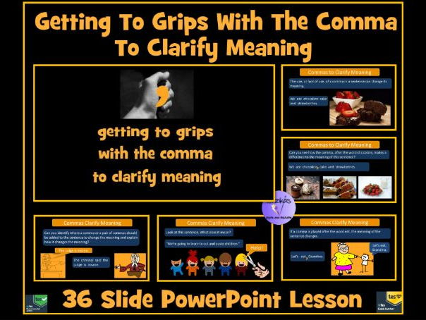 Commas To Clarify Meaning and To Avoid Ambiguity and Confusion - 36 Slide PowerPoint Lesson