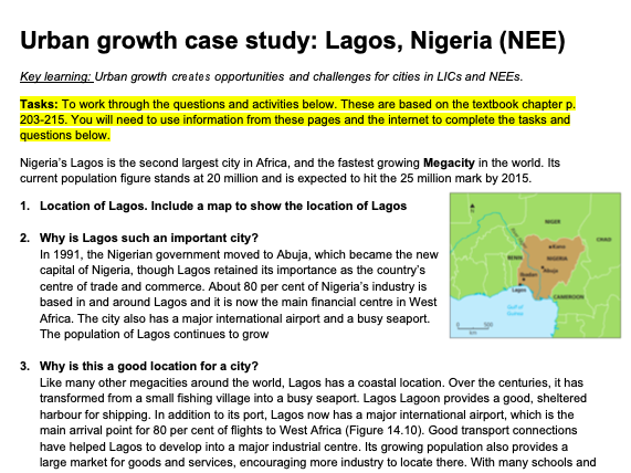 GCSE Geography Urban Growth case study - Lagos, Nigeria