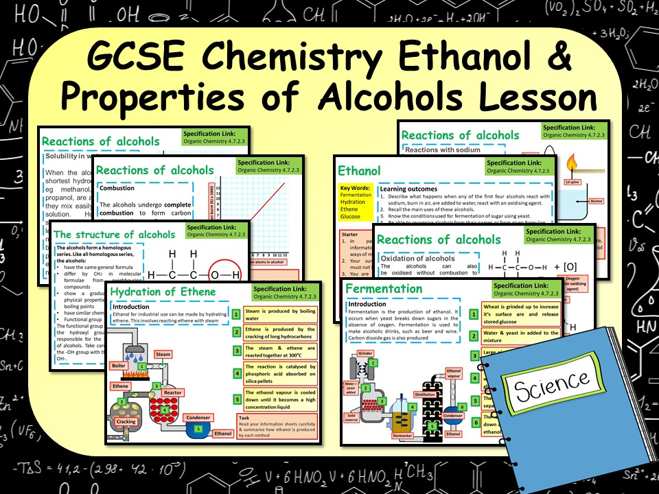 AQA Chemistry  (Science) Making Ethanol  & Properties of Alcohols Lesson