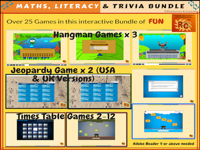 Bundle of Fun & Engaging  Interactive Maths, Literacy  & Trivia Games (25+)