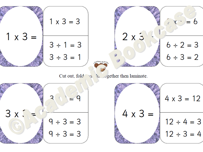 3 times table self check flashcards with inverse on the back