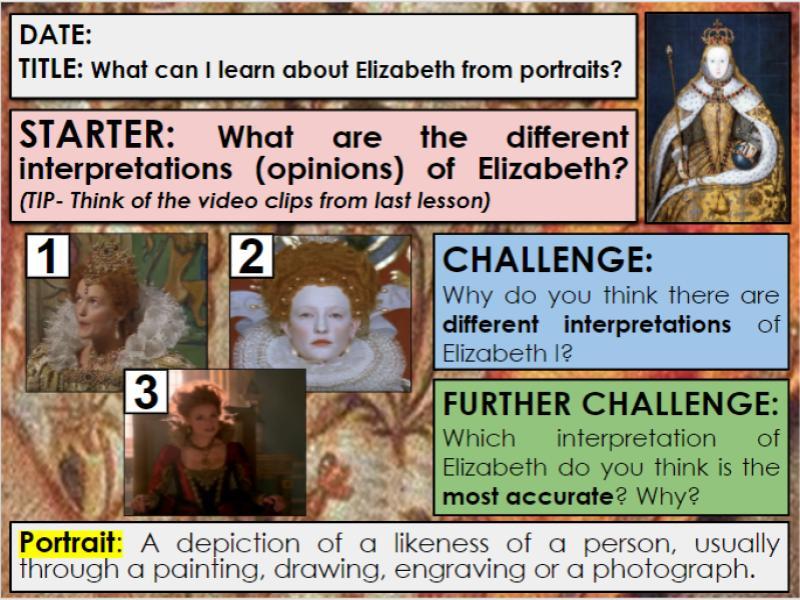 Edexcel 9-1 History GCSE: Paper 2 Elizabeth: KT1: :L3: What can portraits tell us about Elizabeth I?