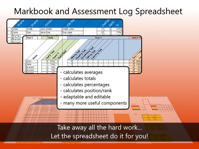 Markbook and Assessment Log Spreadsheet
