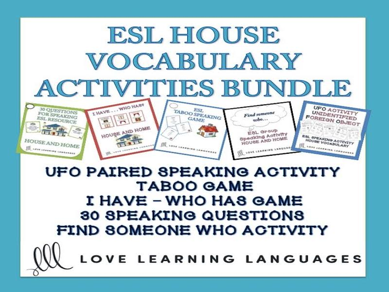 ESL - ELL Bundled Speaking Activities and Games - House and Home Vocabulary - American English