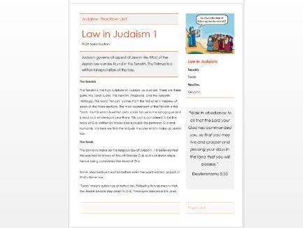 AQA Judaism: Nature of God Information and Question Booklet by ...