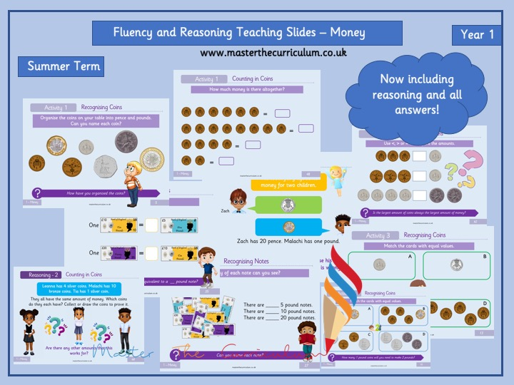 Year 1 - Editable Money Teaching Slides - White Rose Style - Reasoning and Fluency