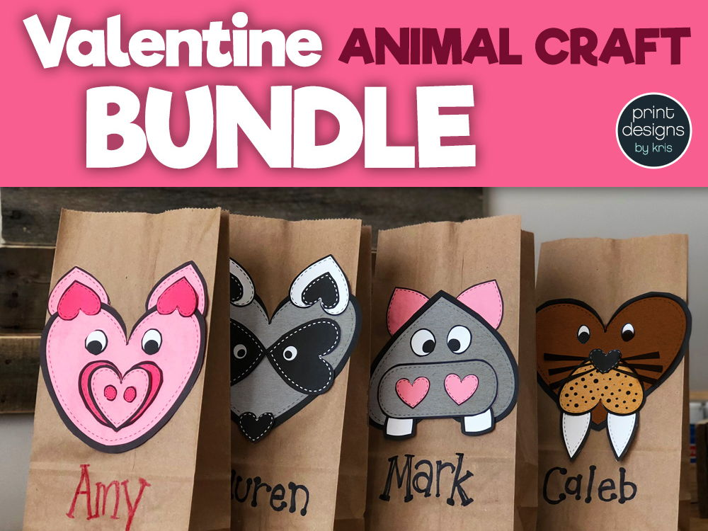 Valentine's Day Craft and Card Holder Animal BUNDLE