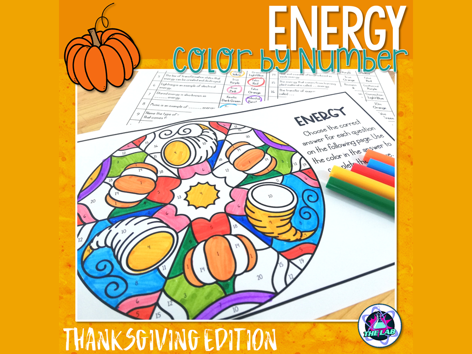 Energy Colour by Number Activity (Thanksgiving)