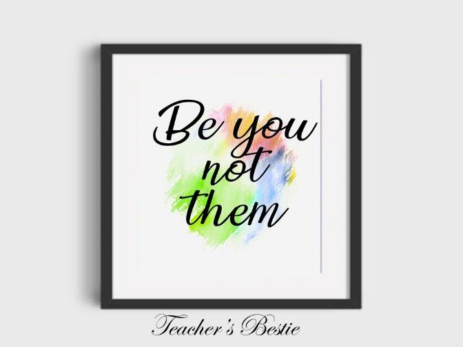 digital prints wall art - Be you not them- art poster -decor typography print download printable art