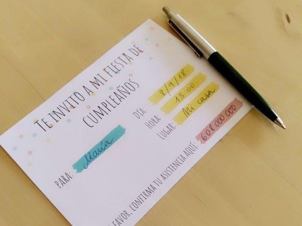 The birthday's party vocabulary in Spanish. Postcard. Invitation. La fiesta de cumpleaños